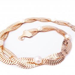 Pasek ozdobny złoty perły...